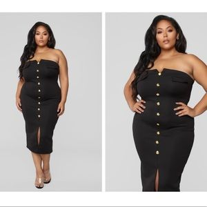 Fashion Nova Dresses - Black Quilted Strapless Dress